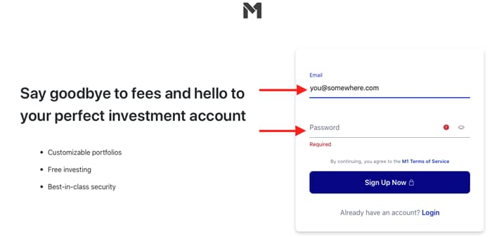 Signup screenshot with arrows pointing to email address and password fields