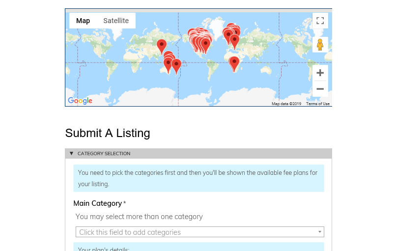 Example of Submit a Listing form