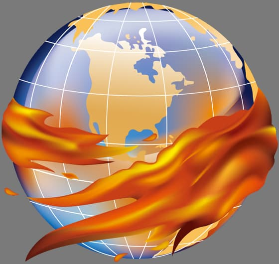 Globe hugged by FIRE movement flames