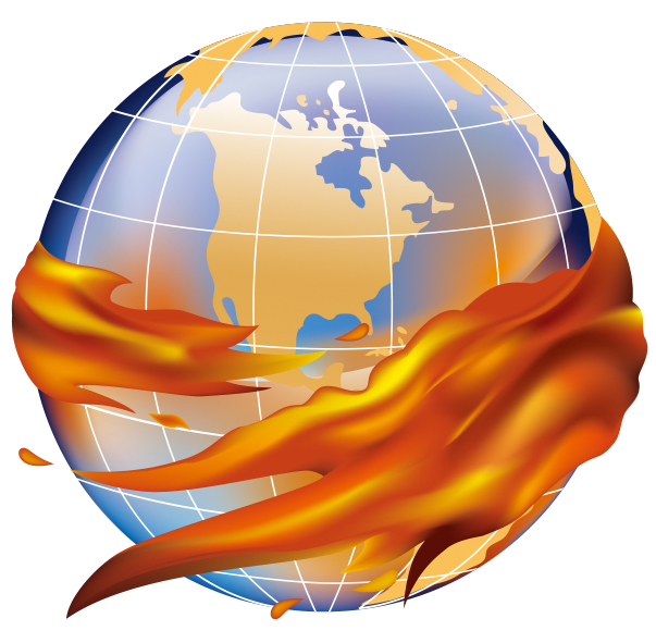 Globe with flames hugging it.