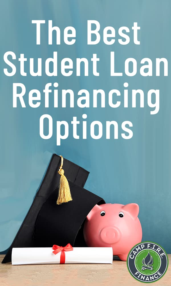The Best Student Loan Refinancing Options - graduation mortarboard, diploma, and piggy bank